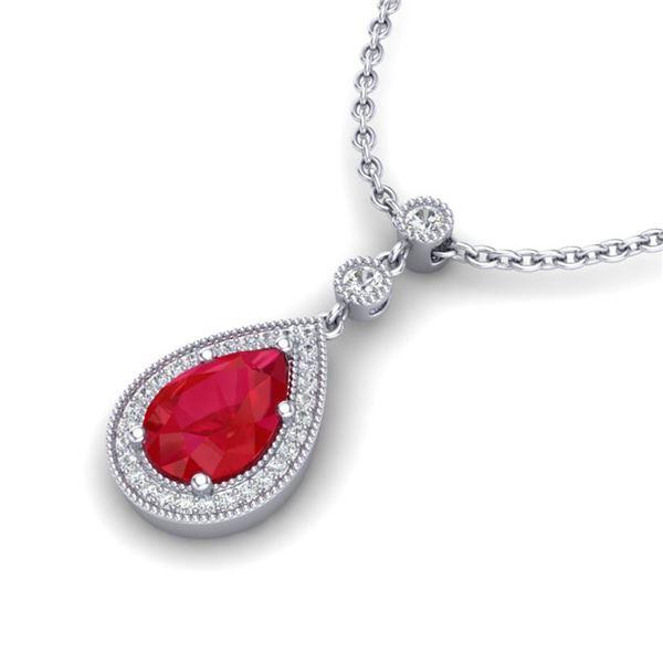 2.75 ctw Ruby & Micro Pave VS/SI Diamond Necklace 18k White Gold - REF-44G4W