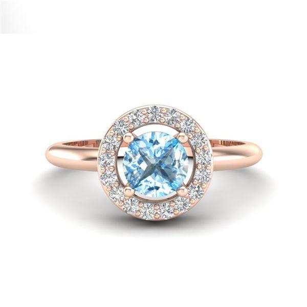 0.75 ctw Sky Blue Topaz & Micro Pave VS/SI Diamond Ring 14k Rose Gold - REF-28N2F