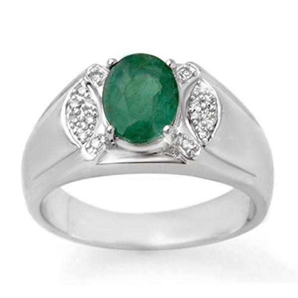 2.15 ctw Emerald & Diamond Men's Ring 10k White Gold - REF-47W9H