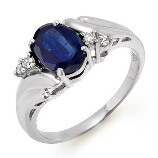 1.67 ctw Blue Sapphire & Diamond Ring 10k White Gold - REF-15M8G