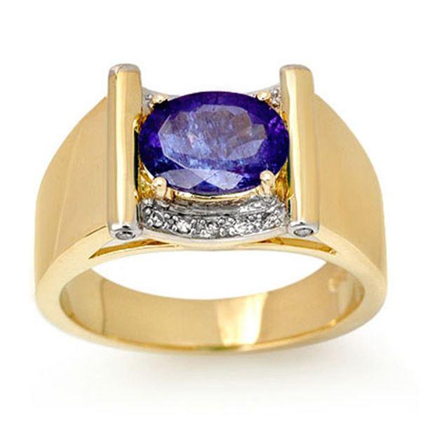 2.18 ctw Tanzanite & Diamond Men's Ring 10k Yellow Gold - REF-53N5F