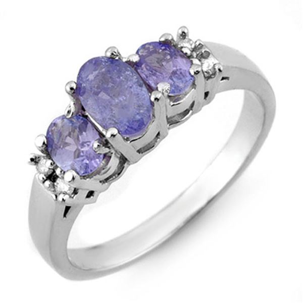 0.99 ctw Tanzanite & Diamond Ring 10k White Gold - REF-19K8Y