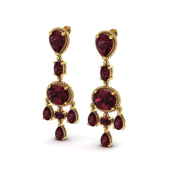 16 ctw Garnet Earrings Designer Vintage 10k Yellow Gold - REF-44A2N