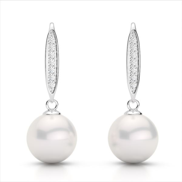 0.18 ctw Micro VS/SI Diamond & White Pearl Earrings 18k White Gold - REF-25K9Y