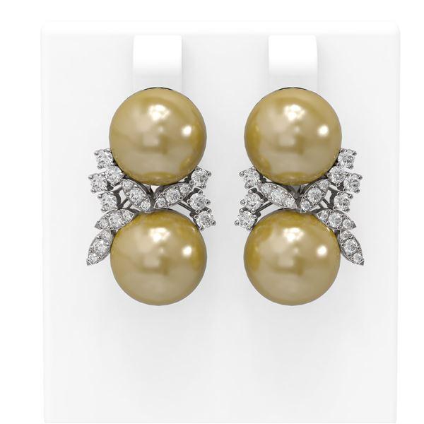 0.96 ctw Diamond & Pearl Earrings 18K White Gold - REF-124K5Y