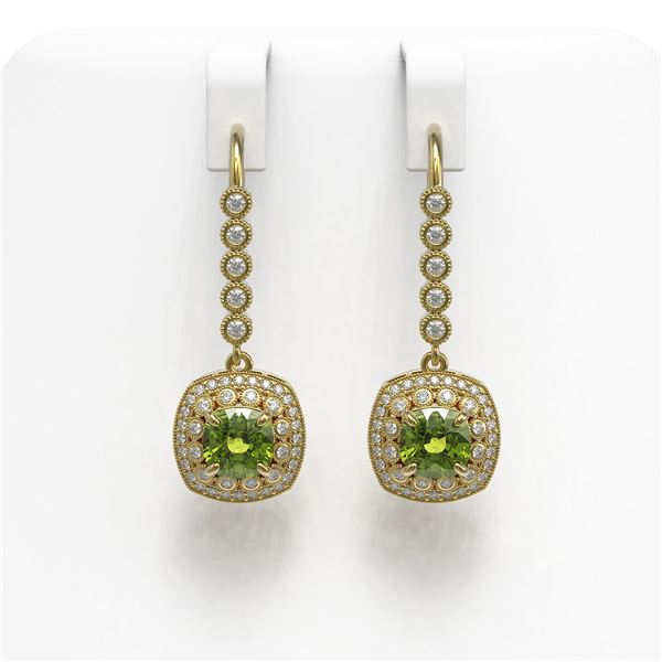4.5 ctw Tourmaline & Diamond Victorian Earrings 14K Yellow Gold - REF-172M8G