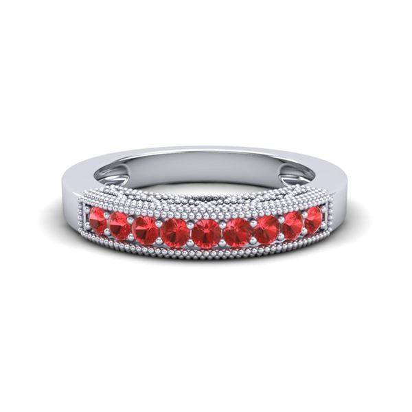 0.50 ctw RED Sapphire Band Art Deco 10k White Gold - REF-13N2F