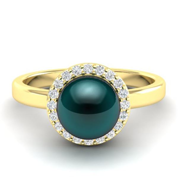 0.25 ctw Micro Pave VS/SI Diamond & Peacock Pearl Ring 18k Yellow Gold - REF-41F6M