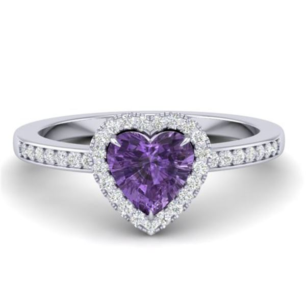 1 ctw Amethyst & Micro Pave Ring Heart Halo 14k White Gold - REF-25X2A