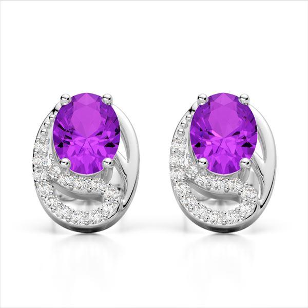 2.50 AMEHYST & Micro Pave VS/SI Diamond Stud Earrings 10k White Gold - REF-25K9Y