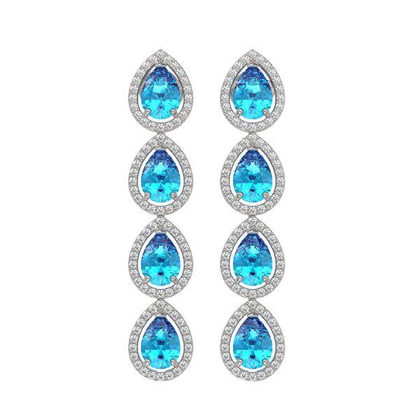 7.81 ctw Swiss Topaz & Diamond Micro Pave Halo Earrings 10k White Gold - REF-152A8N