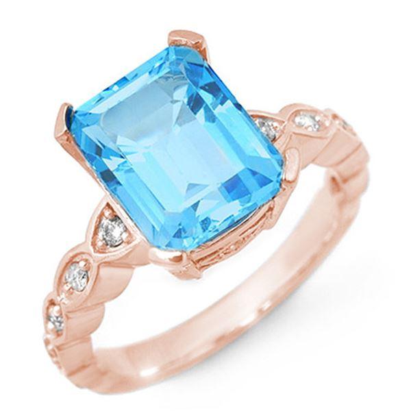 5.25 ctw Blue Topaz & Diamond Ring 10k Rose Gold - REF-25Y4X