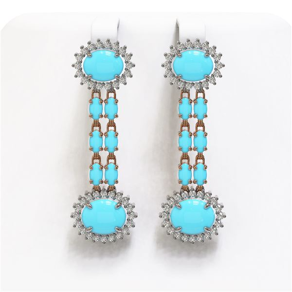 9.94 ctw Turquoise & Diamond Earrings 14K Rose Gold - REF-172M5G
