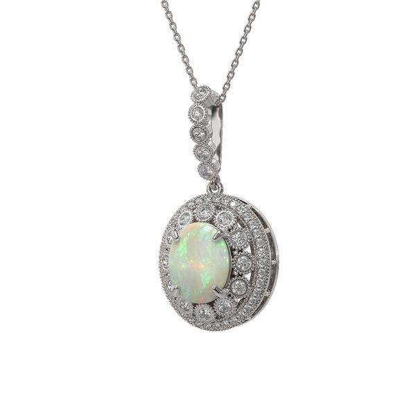 5.13 ctw Certified Opal & Diamond Victorian Necklace 14K White Gold - REF-182R2K
