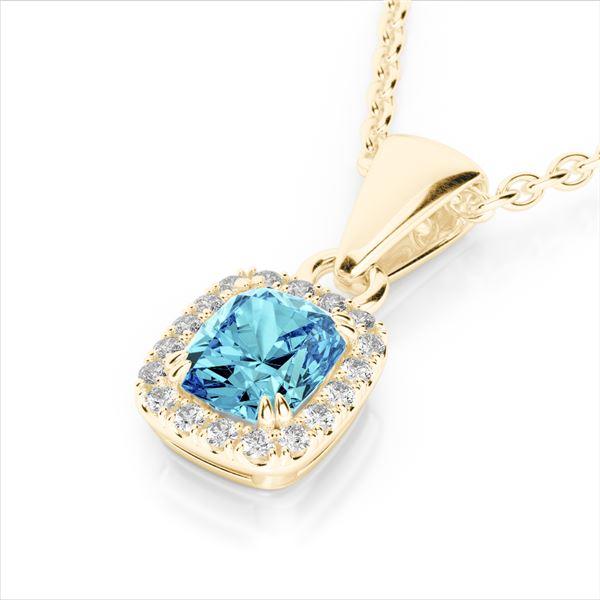 1.25 ctw Sky Blue Topaz & Micro VS/SI Diamond Halo Necklace 10k Yellow Gold - REF-20M5G