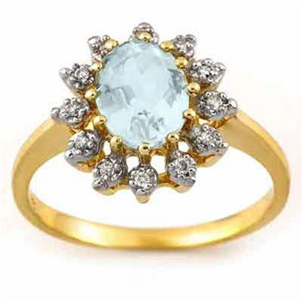 1.62 ctw Aquamarine & Diamond Ring 10k Yellow Gold - REF-23N9F