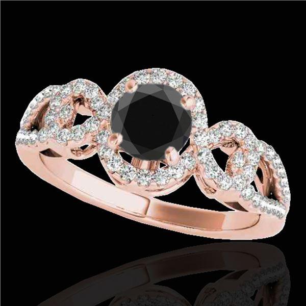 1.38 ctw Certified VS Black Diamond Solitaire Halo Ring 10k Rose Gold - REF-52H6R