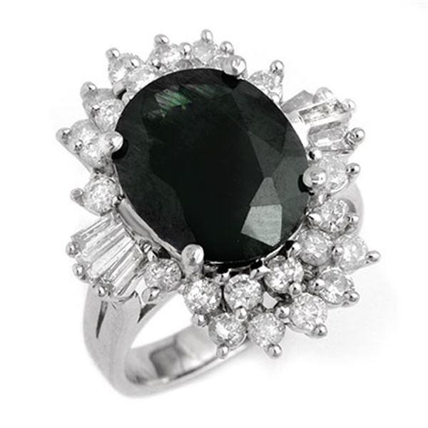 9.51 ctw Blue Sapphire & Diamond Ring 14k White Gold - REF-141M8G