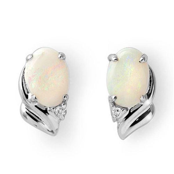 1.03 ctw Opal & Diamond Earrings 18k White Gold - REF-17H5R