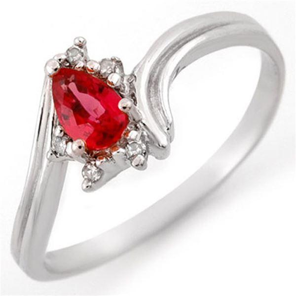 0.35 ctw Red Sapphire & Diamond Ring 14k White Gold - REF-15N2F