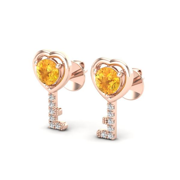 0.60 ctw Citrine & Diamond Micro Pave Key of Heart Earrings 14k Rose Gold - REF-15X5A