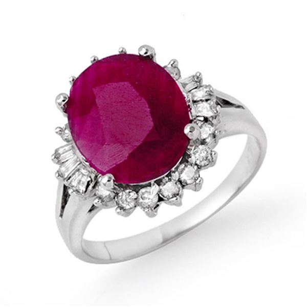 4.06 ctw Pink Sapphire & Diamond Ring 14k White Gold - REF-54F3M