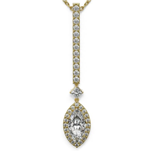 1.3 ctw Marquise Cut Diamond Designer Necklace 18K Yellow Gold - REF-157X2A