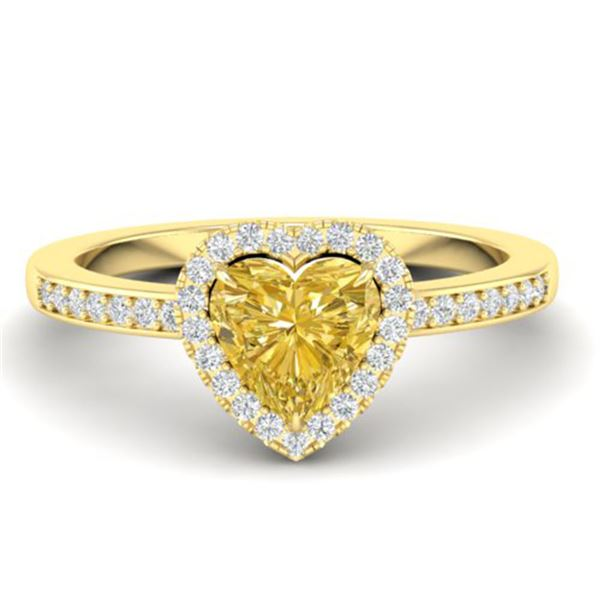 1 ctw Citrine & Micro Pave Ring Heart Halo 14k Yellow Gold - REF-26N2F