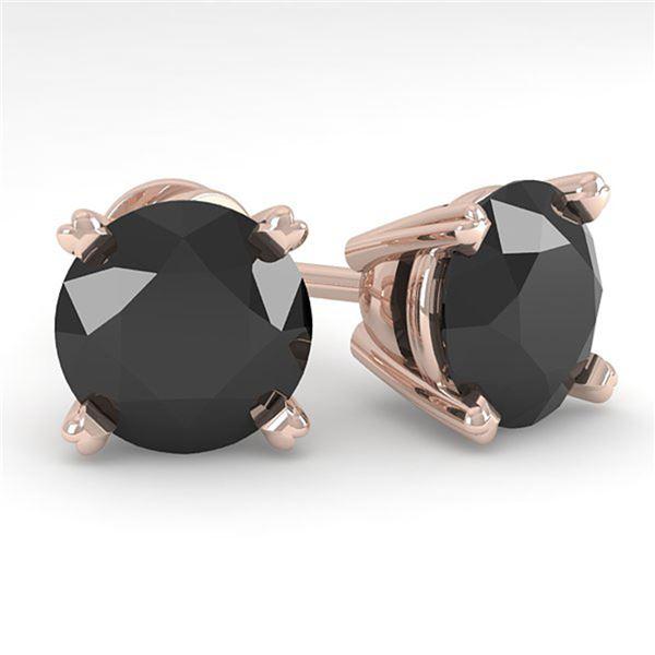 4.0 ctw Black Diamond Stud Designer Earrings 18k Rose Gold - REF-81Y2X