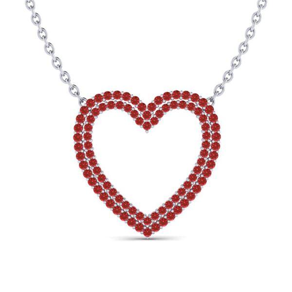 3.50 ctw RED Sapphire Heart Halo Designer Necklace 10k White Gold - REF-50W9H