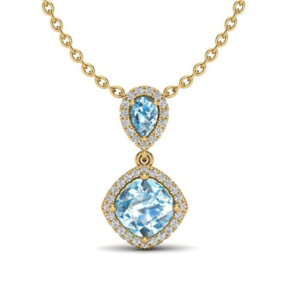 3.50 ctw Sky Blue Topaz & Micro VS/SI Diamond Necklace 10k Yellow Gold - REF-33M8G