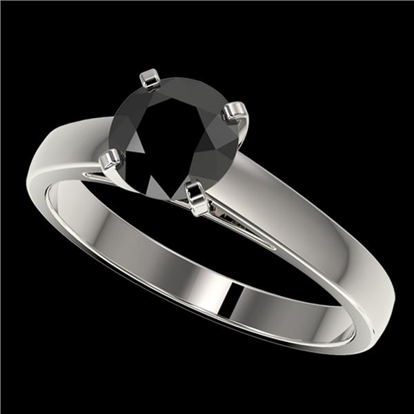 1.25 ctw Fancy Black Diamond Solitaire Engagment Ring 10k White Gold - REF-26X6A