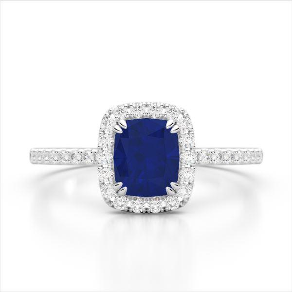 1.25 ctw Sapphire & Micro Pave VS/SI Diamond Ring 10k White Gold - REF-30F8M