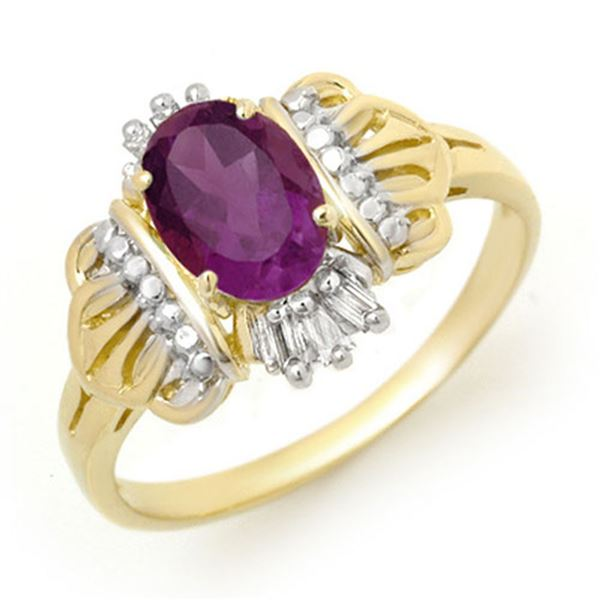 0.77 ctw Amethyst & Diamond Ring 10k Yellow Gold - REF-13M2G