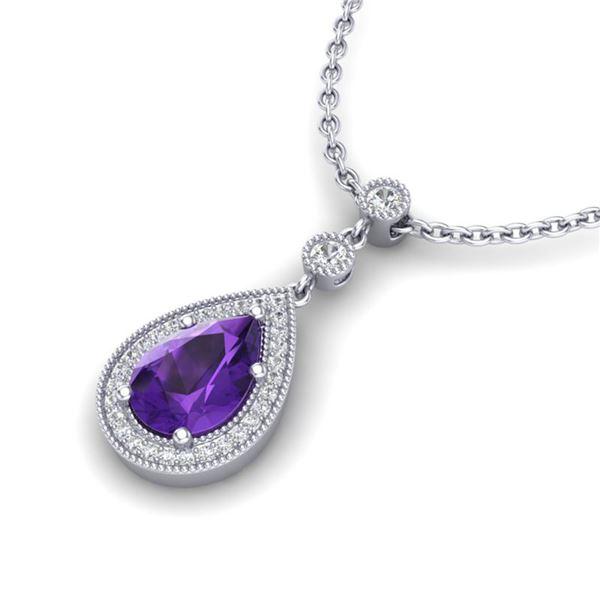 2.25 ctw Amethyst & Micro Pave VS/SI Diamond Necklace 18k White Gold - REF-34R6K
