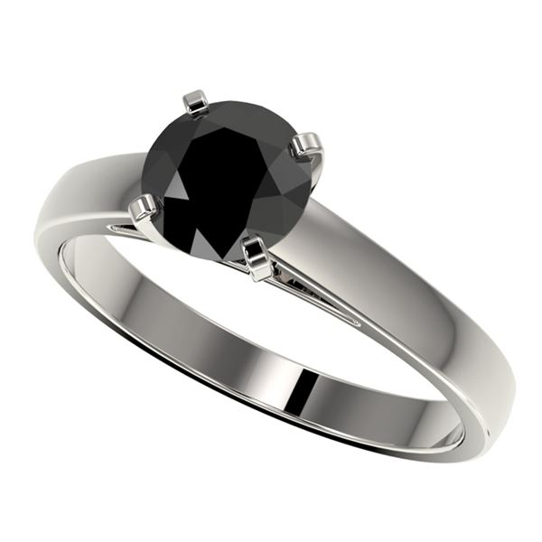 1.25 ctw Fancy Black Diamond Solitaire Engagment Ring 10k White Gold - REF-26K6Y