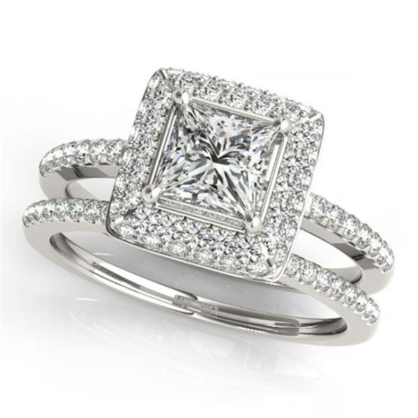 1.01 ctw Certified VS/SI Princess Diamond 2pc Set Halo 14k White Gold - REF-111W8H