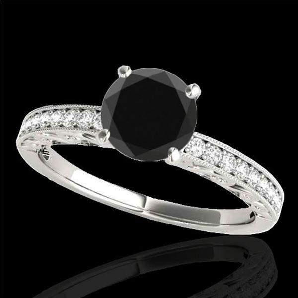1.43 ctw Certified VS Black Diamond Solitaire Antique Ring 10k White Gold - REF-40M8G