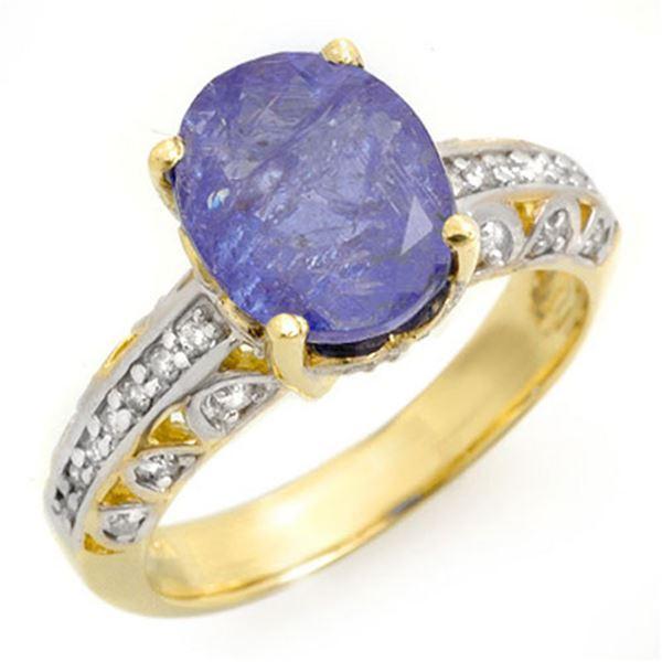 4.33 ctw Tanzanite & Diamond Ring 10k Yellow Gold - REF-114W2H