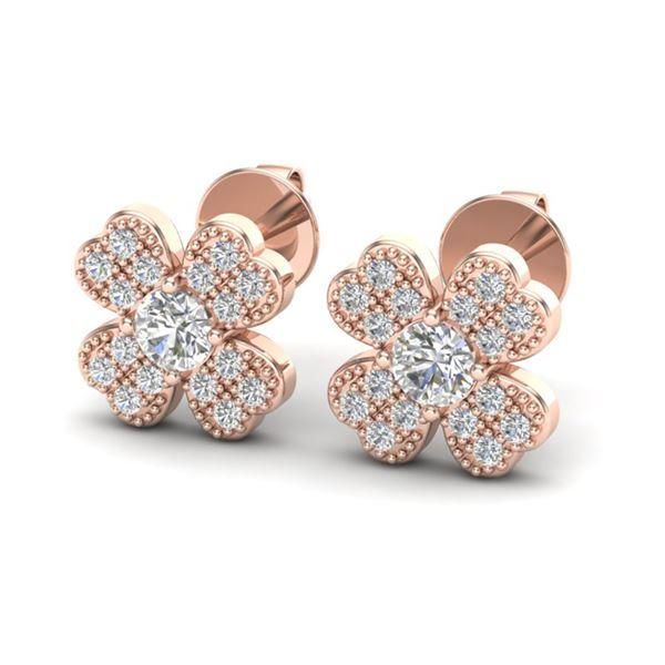 0.54 ctw Micro Pave VS/SI Diamond Certified Earrings 14k Rose Gold - REF-43Y6X
