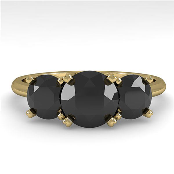 2 ctw Black Diamond Past Present Future Designer Ring 14k Yellow Gold - REF-48W2H
