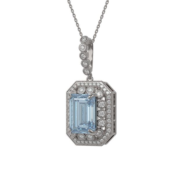 12.5 ctw Sky Topaz & Diamond Victorian Necklace 14K White Gold - REF-199W3H