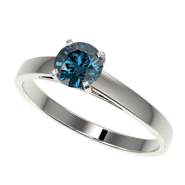 0.76 ctw Certified Intense Blue Diamond Engagment Ring 10k White Gold - REF-57F8M