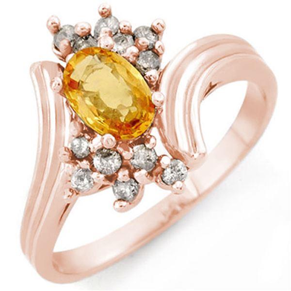 1.0 ctw Yellow Sapphire & Diamond Ring 14k Rose Gold - REF-26W8H