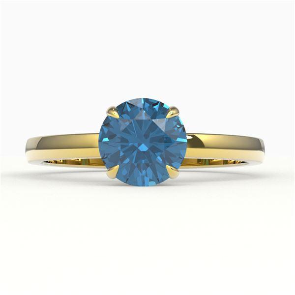 2 ctw London Blue Topaz Engagment Ring 18k Yellow Gold - REF-23H2R