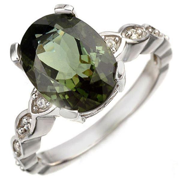4.25 ctw Green Tourmaline & Diamond Ring 10k White Gold - REF-52M3G