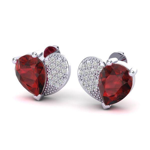 2.50 ctw Garnet & Micro Pave VS/SI Diamond Earrings 10k White Gold - REF-22H5R