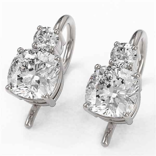 1.25 ctw Cushion Cut Diamond Designer Earrings 18K White Gold - REF-170Y2X