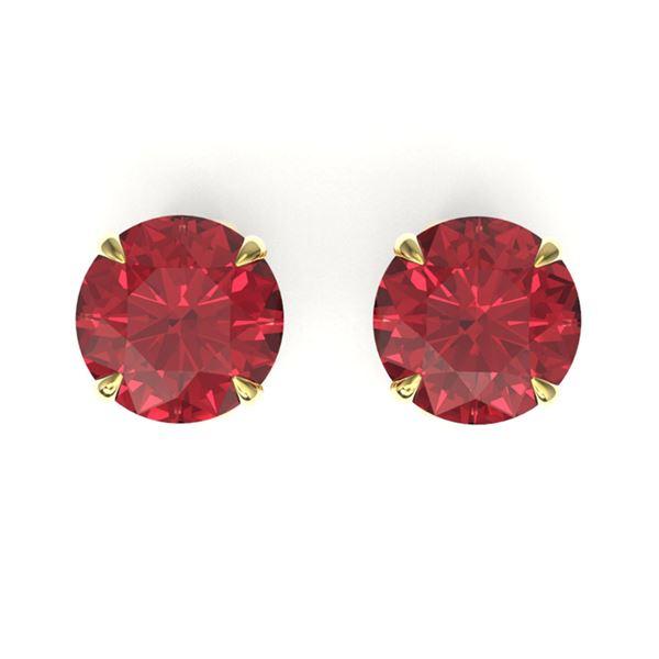 3 ctw Pink Tourmaline Designer Stud Earrings 18k Yellow Gold - REF-49W3H