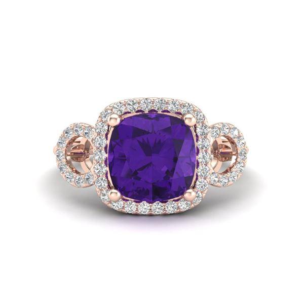3.75 ctw Amethyst & Micro VS/SI Diamond Certified Ring 14k Rose Gold - REF-42Y6X
